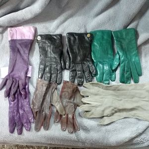 Set of 5 Leather and Suede Gloves